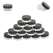 Houseables 3 Gramme Jar, 3 ML Jar, 100 pcs, BPA Free, Cosmetic Sample Empty Container, Plastic, Round Pot Black Screw Cap Lid, Small Tiny 3g Bottle, for Make Up, Eye Shadow, Nails, Powder, Gems, Beads, Jewellery