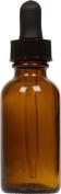 Amber Glass Boston Round Bottle w/ Black Glass Dropper 30ml