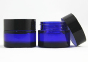 Blue Heavywall Glass 60ml Amber Salve Jar w/ Black Lid 4 pk
