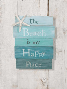 The Beach Is My Happy Place - Plank Board Sign with Starfish and Rhinestone Accents 30cm X 23cm