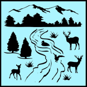 Auto Vynamics - STENCIL-NATURESCENE01-X - Detailed Nature & Wildlife Scene Stencil Kit - Use the Whole Scene or Individual Pieces! - 50cm by 50cm Sheet - (1) Piece Kit