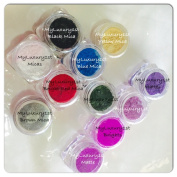Lot of 11 (3 Gramme Samples) Mica & Matte DIY Soap Making Shimmers & Dull Pigment Colourants Black White Brown Silver Orange Red Blue Yellow Gold Micas Green Violet Purple Plum Orchid Lavender Ultramarine Cosmetic Powders