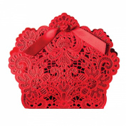 Zcargel Hot Sale Laser Cut Chinese Red Hollow Carved Wedding Favour Boxes with Ribbons Birthday Birthday Party Candy Boxes 50Pcs