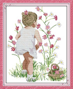 Benway Stamped Cross Stitch Kit Little Girl In White Smelling The Flowers 14 Count 37x44cm