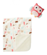 Chick Pea Printed Blanket with Plush Toy, Owl