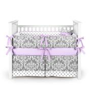 Damask Polkadot Grey Baby Bedding Set