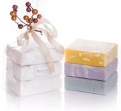 ORGANIC HANDMADE SOAP GIFT SET - ALL NATURAL - Scented w/ Pure Aromatherapy Grade Essential Oils - 3 Full Size Bars - Comes Boxed, Gift Wrapped in Cellophane w/ Satin Bow & Spring Floral Embellishment