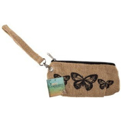 Natural Burlap Butterfly Wristlet