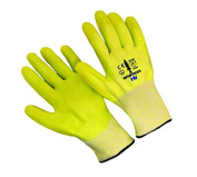 Seattle Glove HV-L Hivis Hppe Liner with Nitrile Palm Coating Glove, Large - Pack of 12