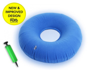 Premium Inflatable Donut cushion comfortable for Hemorrhoid ,Back and Tailbone Pain relief. Medical Donut Cushion ideal for Coccyx pain, Bedsores, Child Birth, and Pregnancy