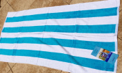 Two Aqua 100% Cotton Velour Royal Comfort 30 X 62 Cabana Collection Striped Beach Towels