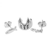 Spinningdaisy 3 Piece Triangle, Crystal Stud and Crystal Crown Ear Cuff Earring Set