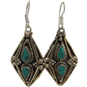 Bohemian Gypsy Indian Vintage Tibetan Yoga Turquoise Silver-Tone Naga Tribal Earrings #30