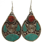Bohemian Gypsy Indian Vintage Tibetan Yoga Coral & Turquoise Silver-Tone Naga Tribal Earrings #24