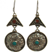 Bohemian Gypsy Indian Vintage Tibetan Yoga Coral & Turquoise Silver-Tone Naga Tribal Earrings #19