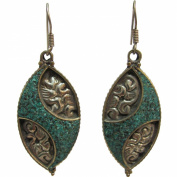 Bohemian Gypsy Indian Vintage Tibetan Yoga Turquoise Silver-Tone Naga Tribal Earrings #18