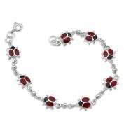 WithLoveSilver Sterling Silver 925 Red 8 Enamel Ladybugs Link Bracelets 19cm