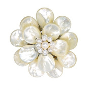 White Pure Lotus Mother of Pearl Floral Pin or Brooch