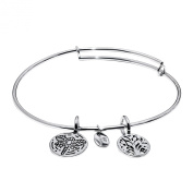 Tree of Life Expandable Bangle in Brass with Rhodium Plating Bracelets
