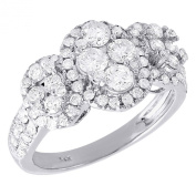 14K White Gold Round Cut Diamond Oval Design Engagement Ring 1.42 Cttw