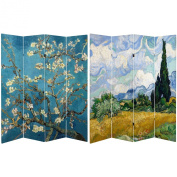 Oriental Furniture Double Sided Works of Van Gogh Canvas Room Divider, 1.8m Tall, Almond Blossoms/Wheat Field