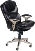 Serta Back in Motion Health and Wellness Mid-Back Bonded Leather Office Chair, Smooth Black
