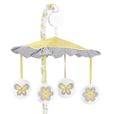 Yellow, Grey and White Mod Garden Girls Flower and Butterfly Musical Baby Crib Mobile