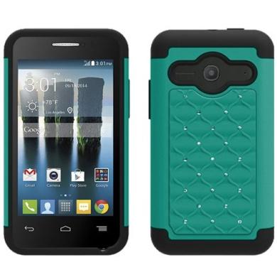 Aqua Green Black HyBrid Rhinestone Silver Bling Soft Skin Hard Case Cover For Alcatel One touch Evolve 2