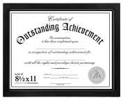 Malden International Designs Wooden Document Frame, Holds 22cm by 28cm Certificate, Black