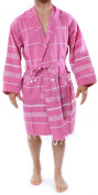 "Hooded Bathrobe Pestemal Fabric 100% Turkish Cotton Kimono Unisex(TM)Trademarked by Cacala ""Fushia"""