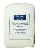 Textiles Plus 135 GSM Knit Jersey Sheet Set, White, Queen
