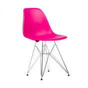 Poly and Bark Eames Style Moulded Plastic Eiffel Chrome Wire Leg Side Chair, Fuchsia, Set of 2