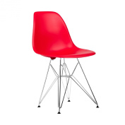 Poly and Bark Eames Style Moulded Plastic Eiffel Chrome Wire Leg Side Chair, Red, Set of 2