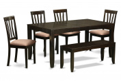 East West Furniture LYAN6-CAP-C 6-Piece Dining Table Set, Cappuccino Finish