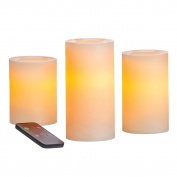 Candle Impressions CAT25667CR3R 10cm , 13cm , and 15cm Remote Control Flameless Candles with Vanilla Fragrance, Cream, 3-Pack