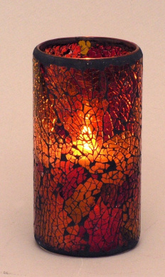 LED Mosaic Flameless Candle, Cracked Glass Pattern, 7.6cm D x 15cm H,