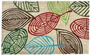 J & M Home Fashions Vinyl Back Coco Doormat, 46cm by 80cm , Leaves Multi
