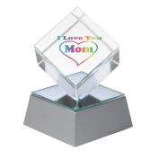 "Amlong Crystal Mothers Day Gift ""I Love You Mom"" Lighted Crystal Cube With Gift Box"