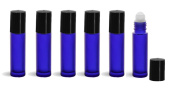 Aromatherapy Roll On Bottles,Frosted Cobalt Blue Glass - Set of 6 - Made in China