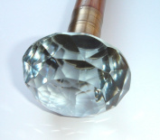 Victorian Style Heavy Cut Glass Knob Handle Walking Stick