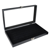 Sodynee® Glass Top Black Jewellery Display Case 72 Slot Ring Tray