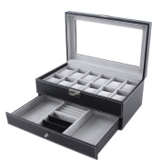 Songmics Leather 12 Mens Watch Box with Jewellery Display Drawer Lockable Watch Case Organiser UJWB012
