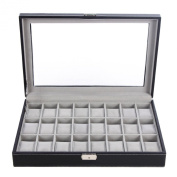 Songmics 24 Mens Watch Box Large Black Leather Watch Case Glass Top Jewellery Display Organiser UJWB024