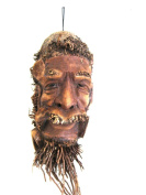 African Mask Wall Hanging Decor Bamboo Root Mask Wise Man Fortune Mask - Collector's Item, UNIQUE- OMA® BRAND