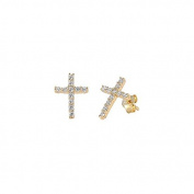 Pair of Yellow Gold Plated Sterling Silver Channel Set Cubic Zirconia Studded Cross Earrings