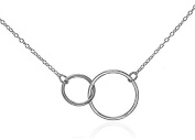 Silver Double Circle Necklace Eternity Pendant Interlocking Rings .925 Sterling Silver 41cm - 46cm