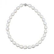 11-12mm White Oval Freshwater Cultured Pearl Necklace, 18""