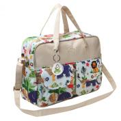 MG Collection Fashion Beige Jungle Animals Top Handle Travel Baby Bag / Nappy Tote Bag w/ Changing Pad
