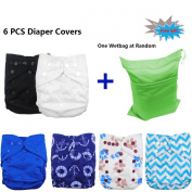 Baby Adjustable Reuseable Pocket Cloth Nappy Cover For Fitted Nappies And Prefolds 6pcs 6DCF02