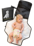 Travel Change Pad - Voted #1 Best Portable Baby Nappy Changing Kit - E-book Included - Black - 100% Satisfaction With Lifetime Guarantee